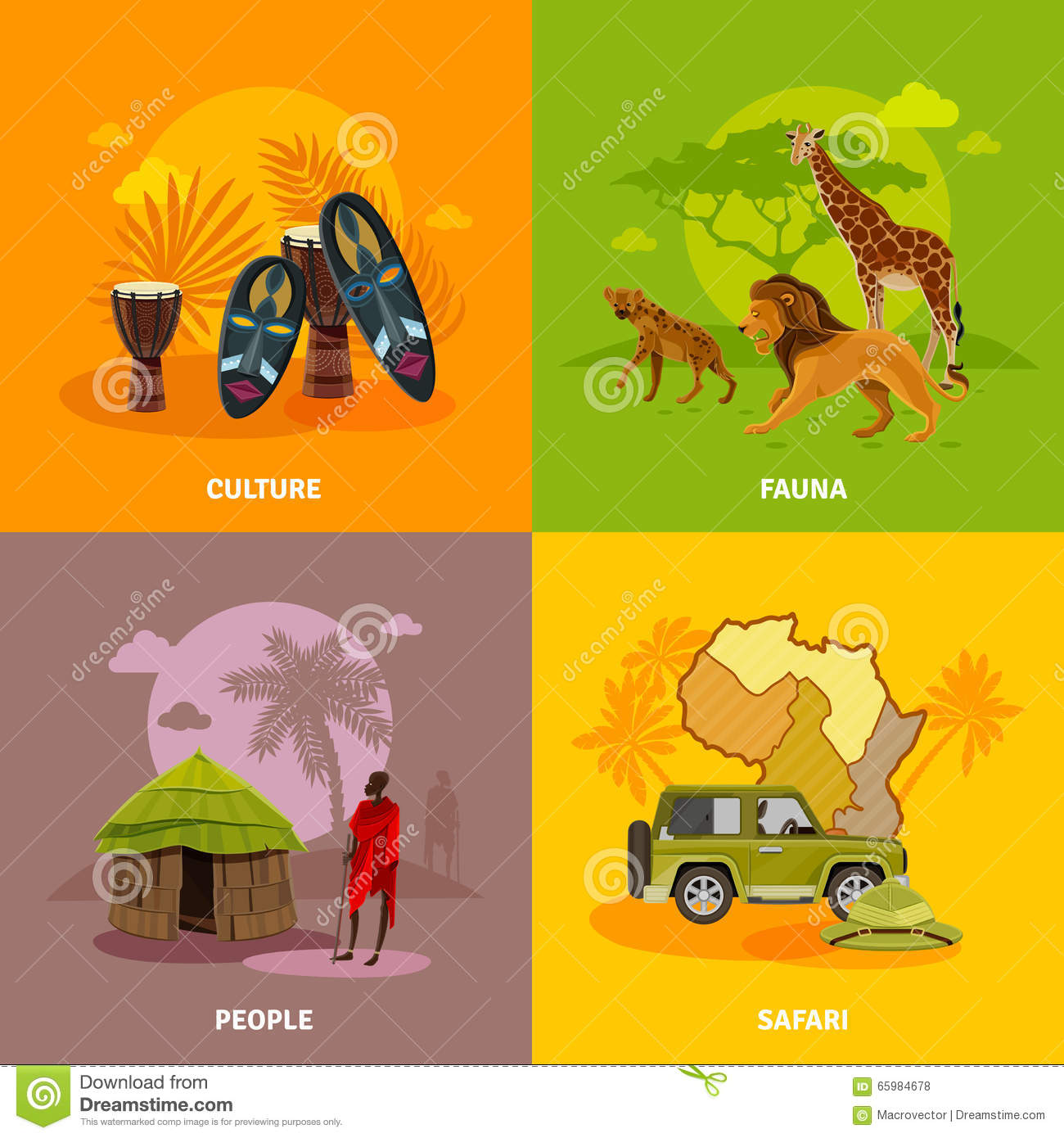 africa concept icons set stock vector illustration of continent