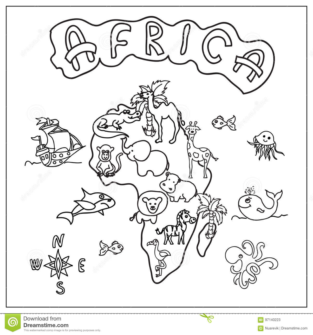 Africa Continent Kids Map Coloring Page Stock Illustration ...