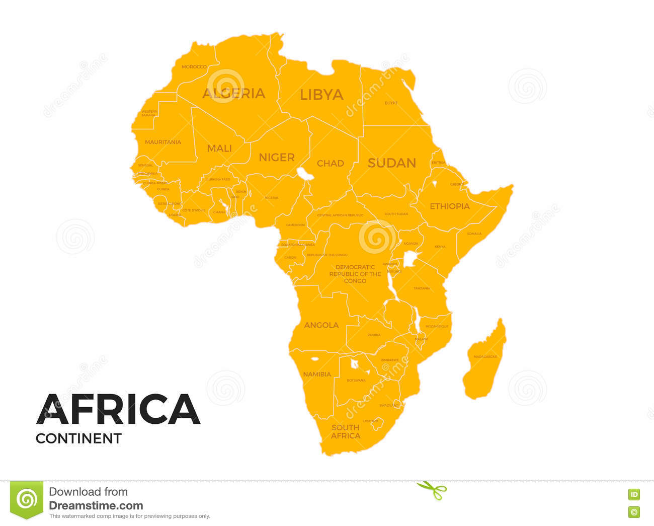Africa Continent Location Map Stock Vector Illustration Of Place