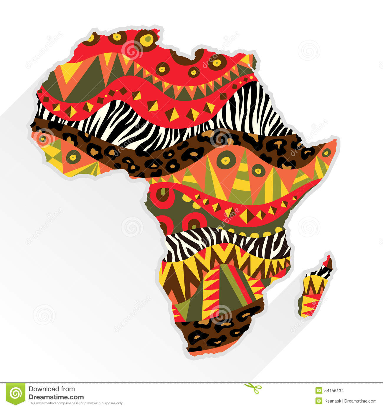 africa continent ornate with ethnic pattern stock vector Monkey Clip Art Tiger Clip Art