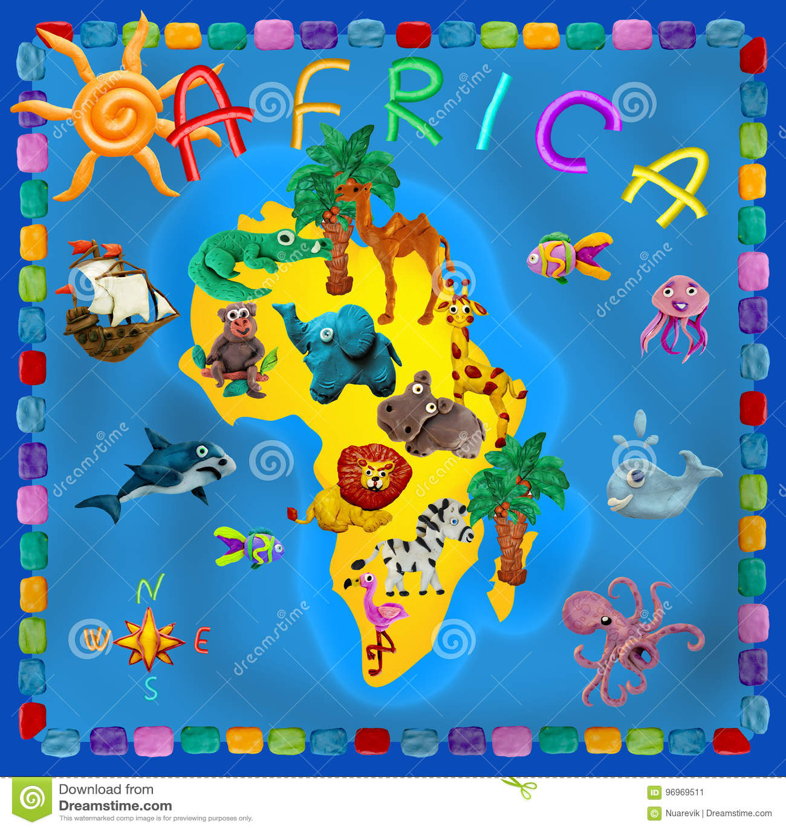 7c9beade Africa Continent Plasticine Kids 3d Map Stock Illustration ...