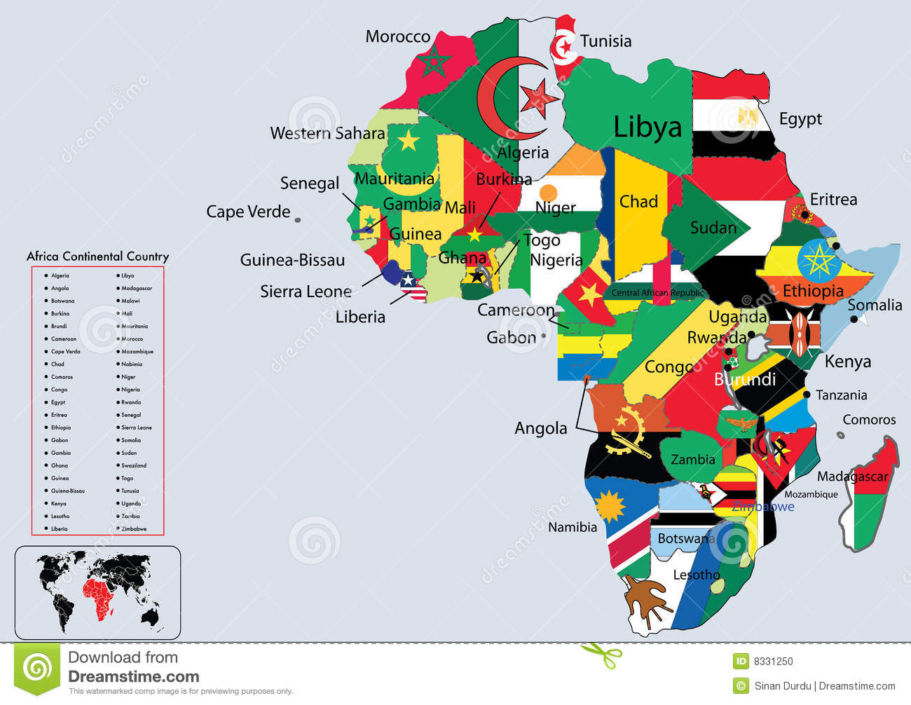 Map Of Africa With Flags.Africa Continental Country Flags And Map Stock Vector Illustration