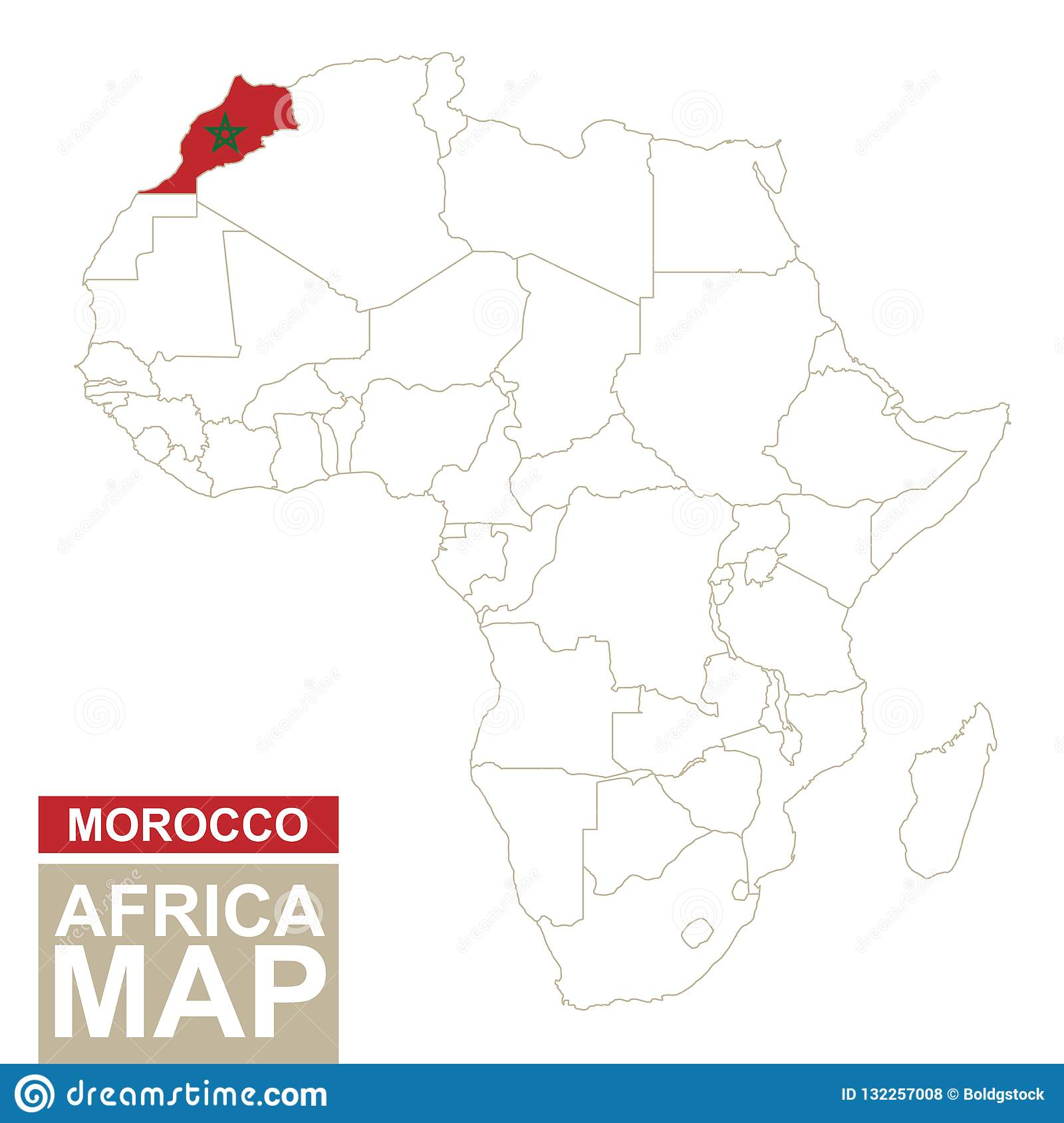 morocco on map of africa Africa Contoured Map With Highlighted Morocco Stock Vector morocco on map of africa