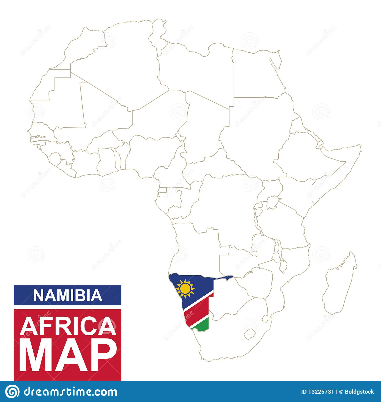 Africa Contoured Map With Highlighted Namibia Stock Vector ...