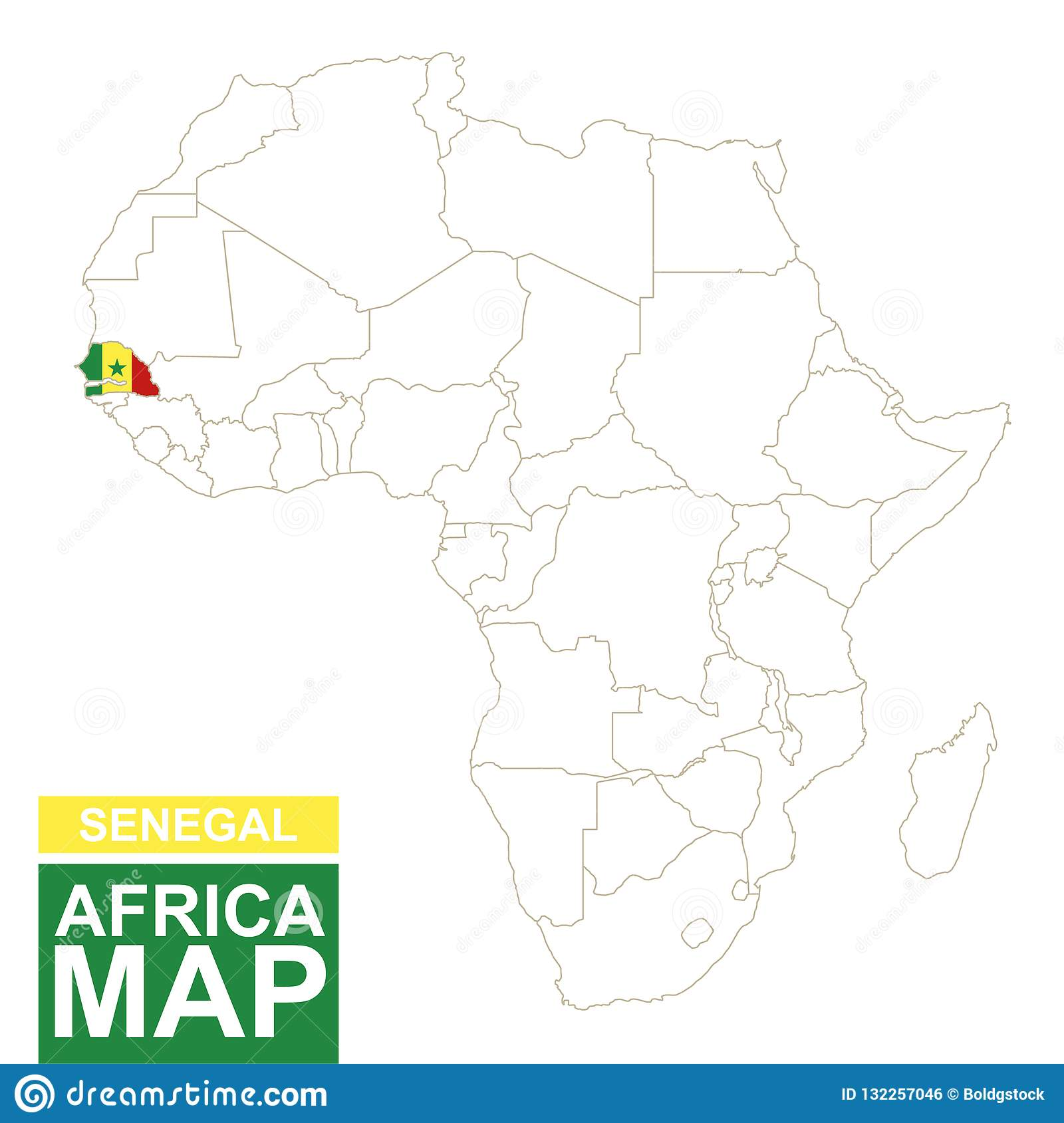 Africa Contoured Map With Highlighted Senegal Stock Vector