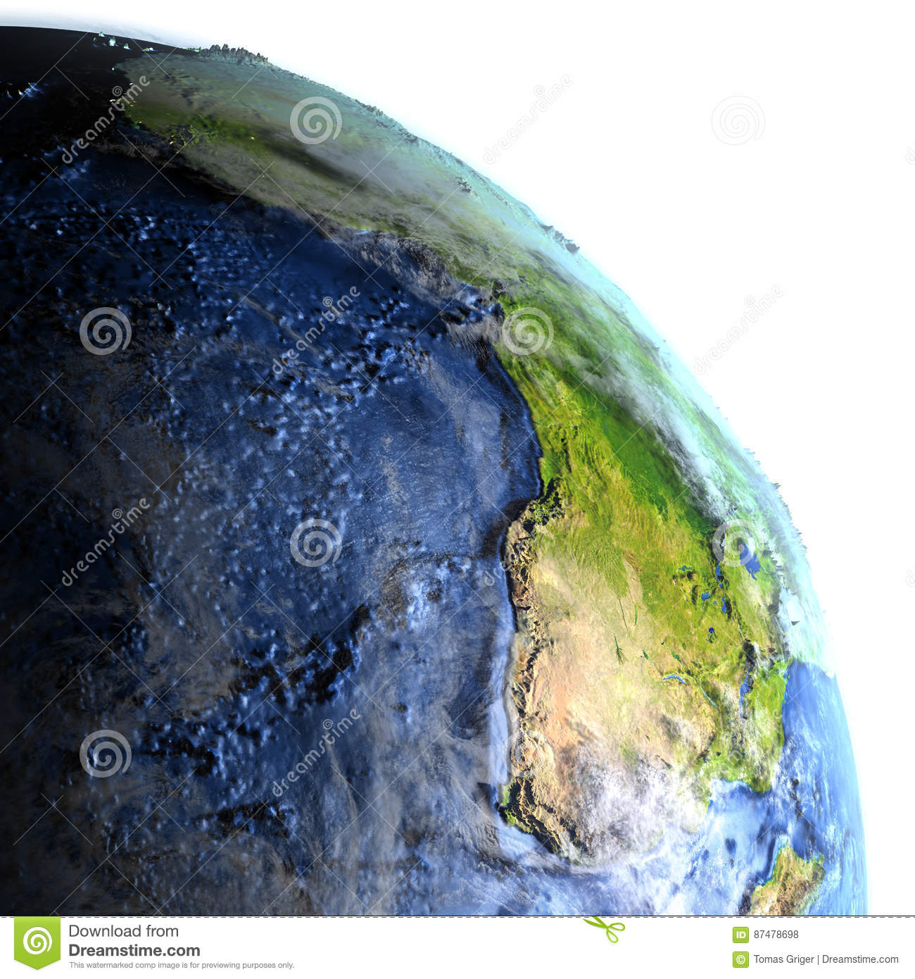 Africa On Earth At Night Visible Ocean Floor Stock Illustration