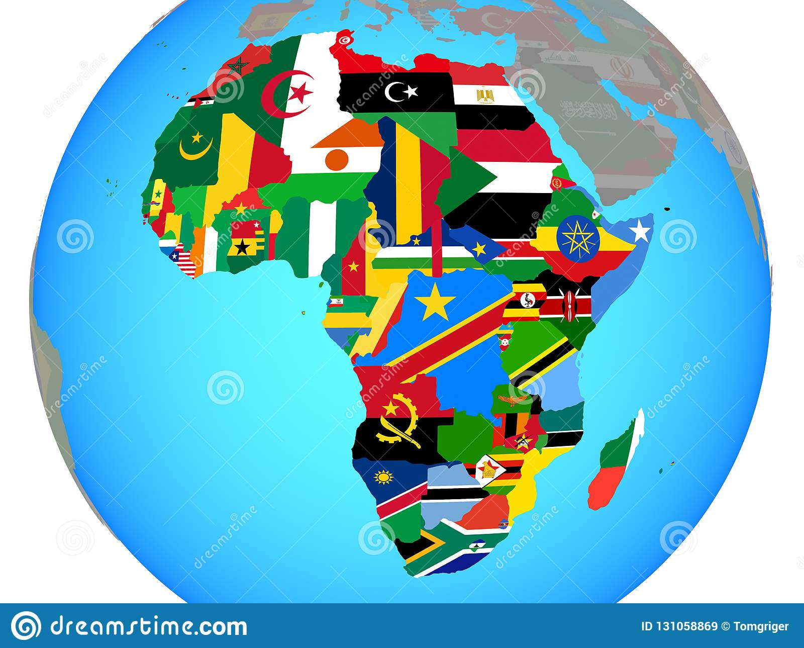 Map Of Africa With Flags.Africa With Flags On Map Stock Illustration Illustration Of