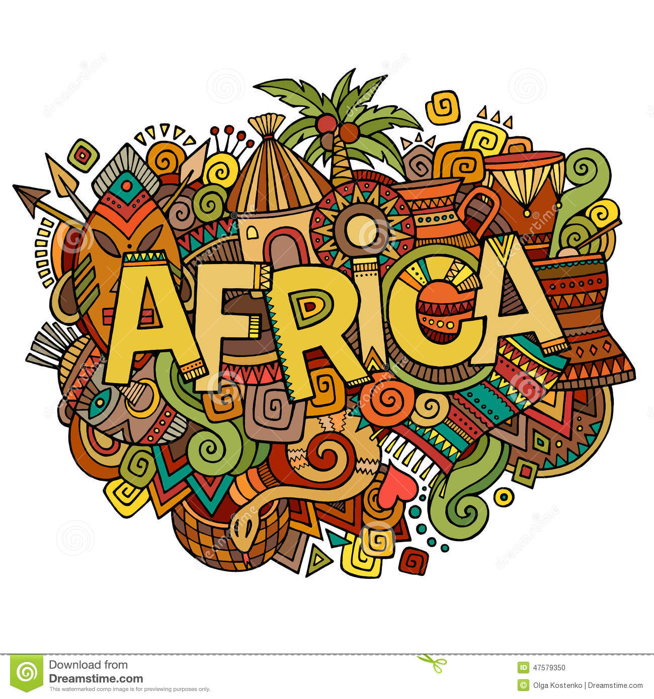 Stock vector music hand lettering and doodles elements - Africa Hand Lettering And Doodles Elements Stock Photo