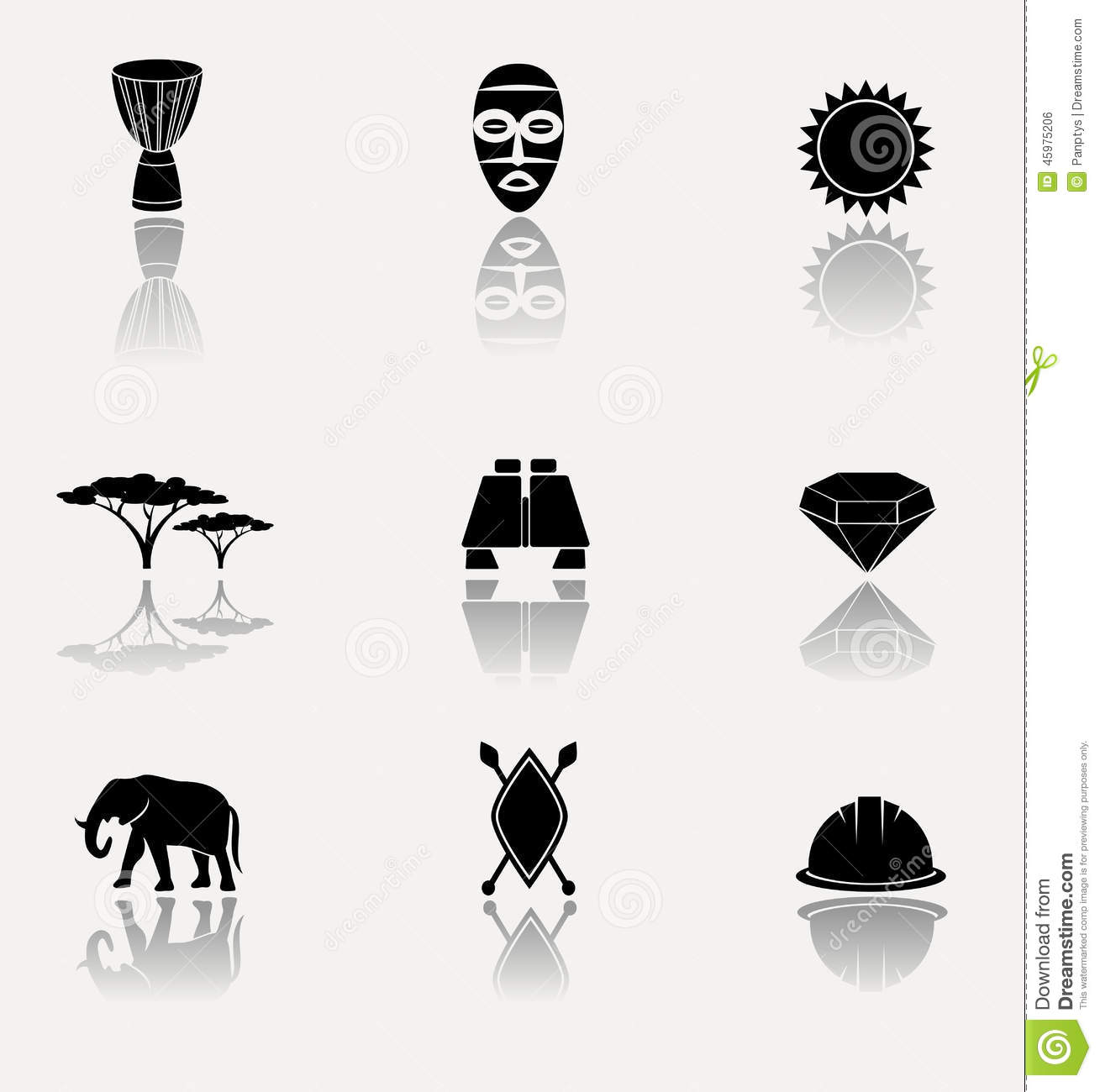 africa jungle savannah icon set stock vector image