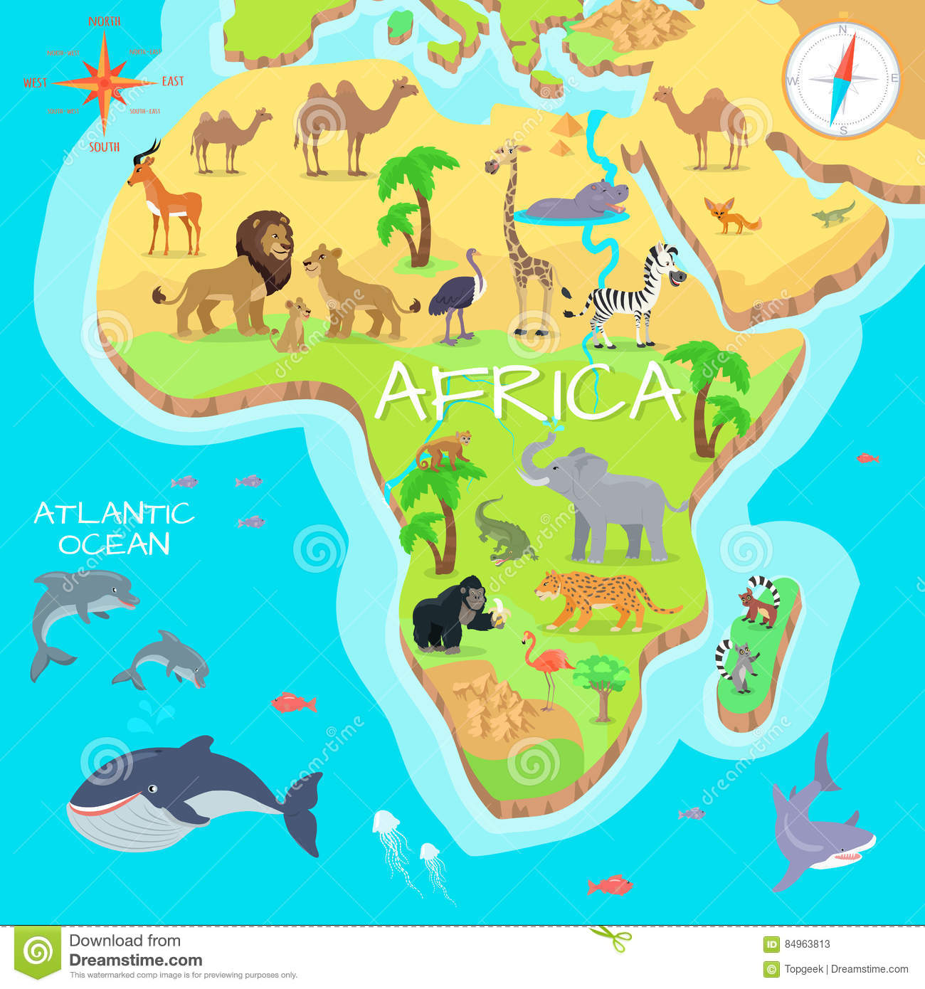 Map Of African Jungle.Africa Mainland Cartoon Map With Fauna Species Stock Vector