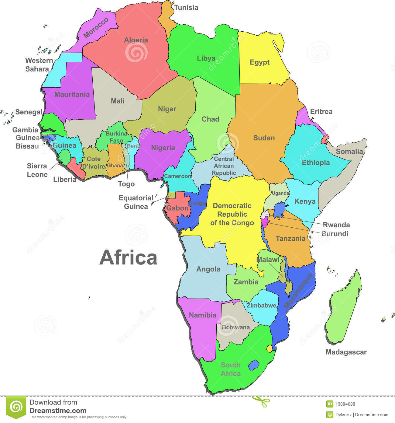 Africa Political Map Stock Photo Image 14504180