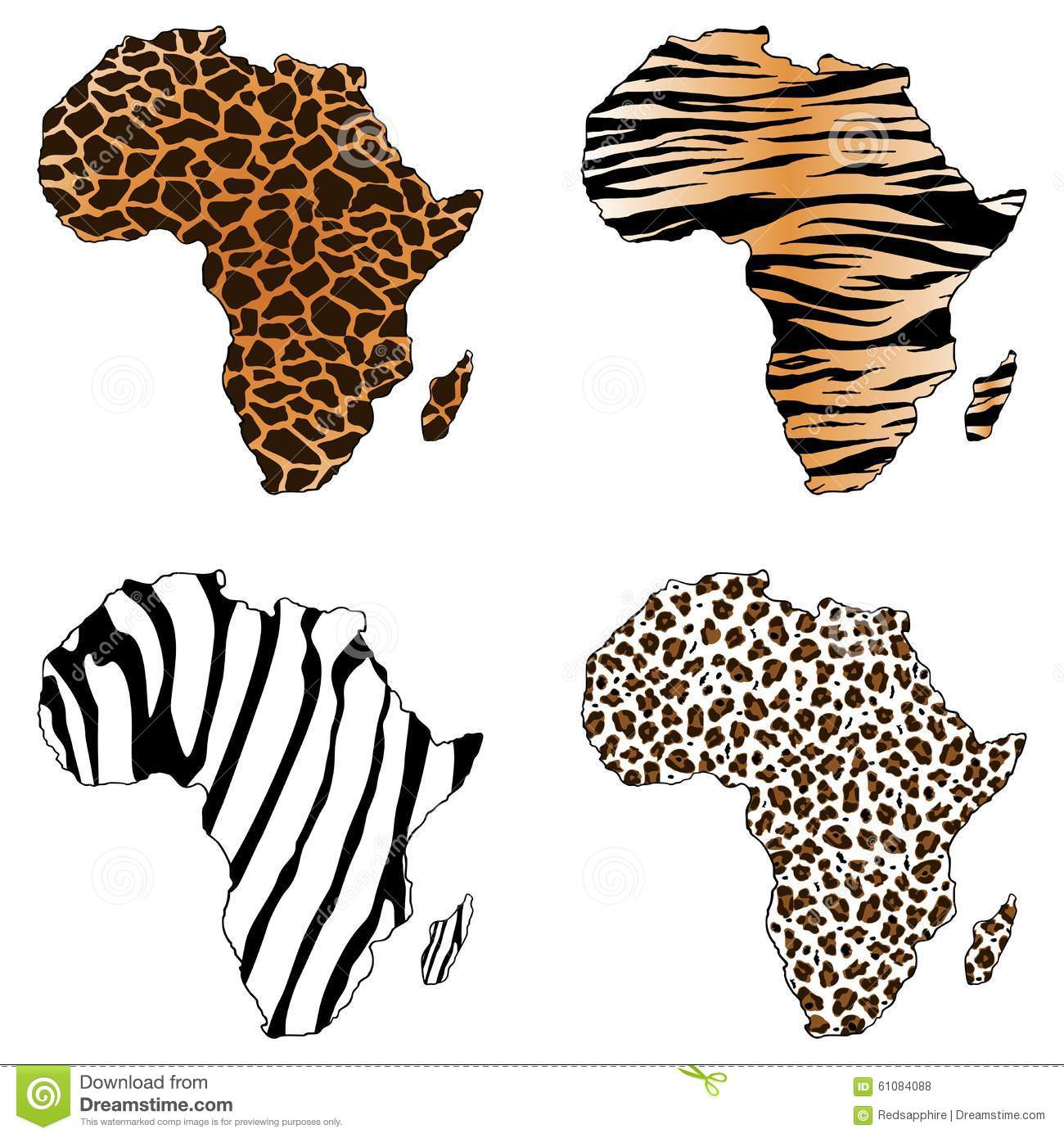 Africa, Map Of Africa With Animal Prints Stock Vector - Image ...