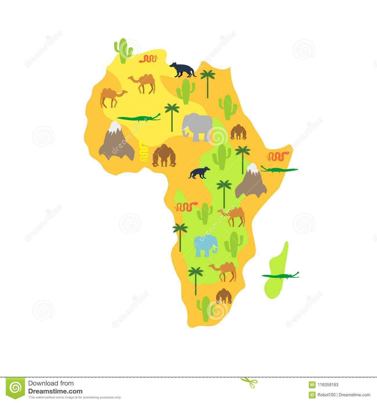Africa Map Animal Flora And Fauna Vector Illustration Stock