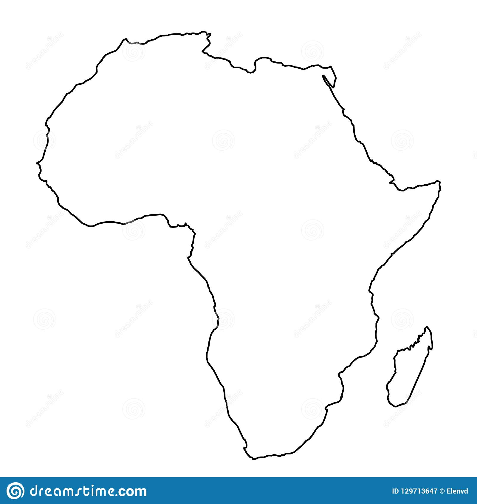 Africa Map From Black Contour Curves Lines On White Background