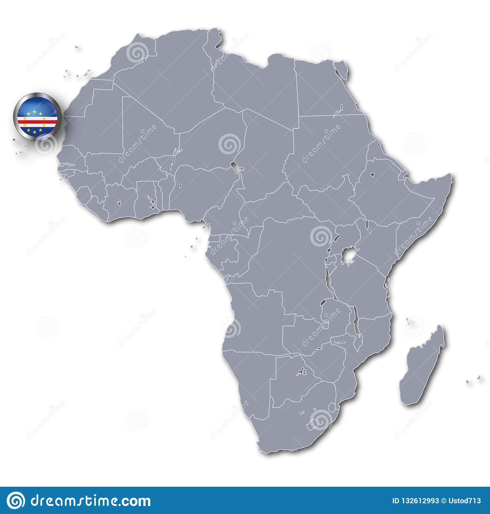 Cape Verde Location On Africa Map.Africa Map With The Cape Verde Stock Illustration