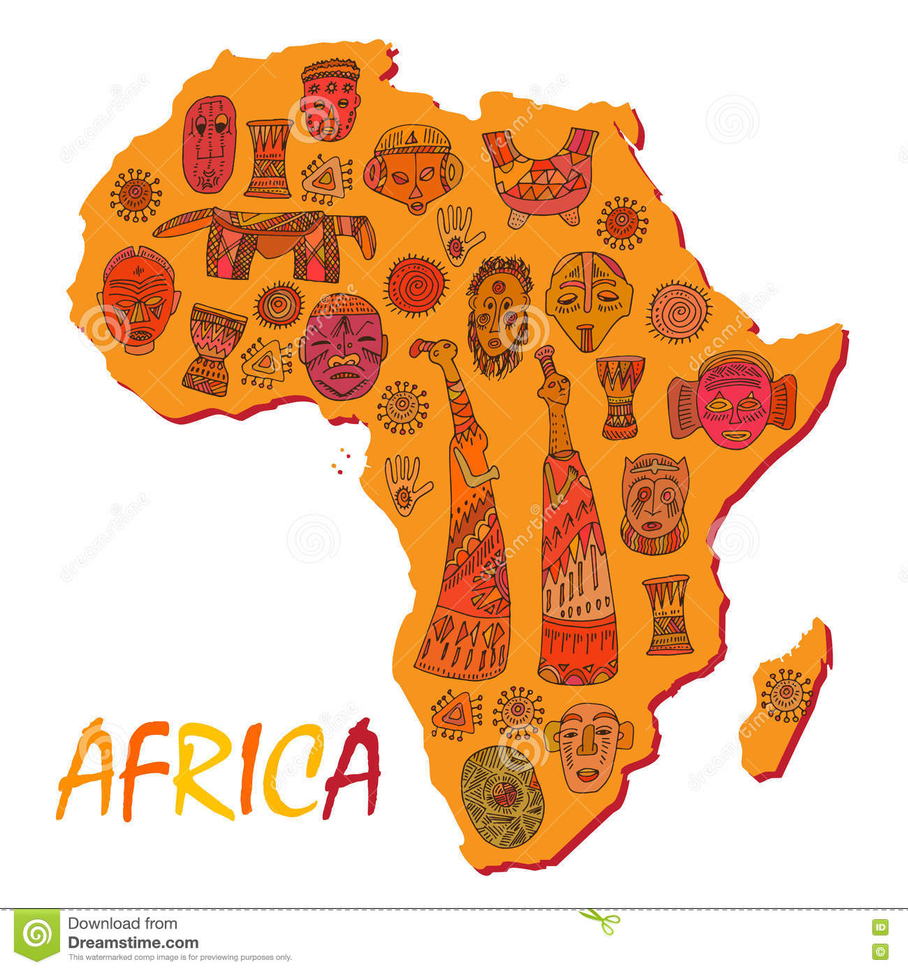 Africa map with different ancient symbols and signs stock vector africa map with different ancient symbols and signs buycottarizona