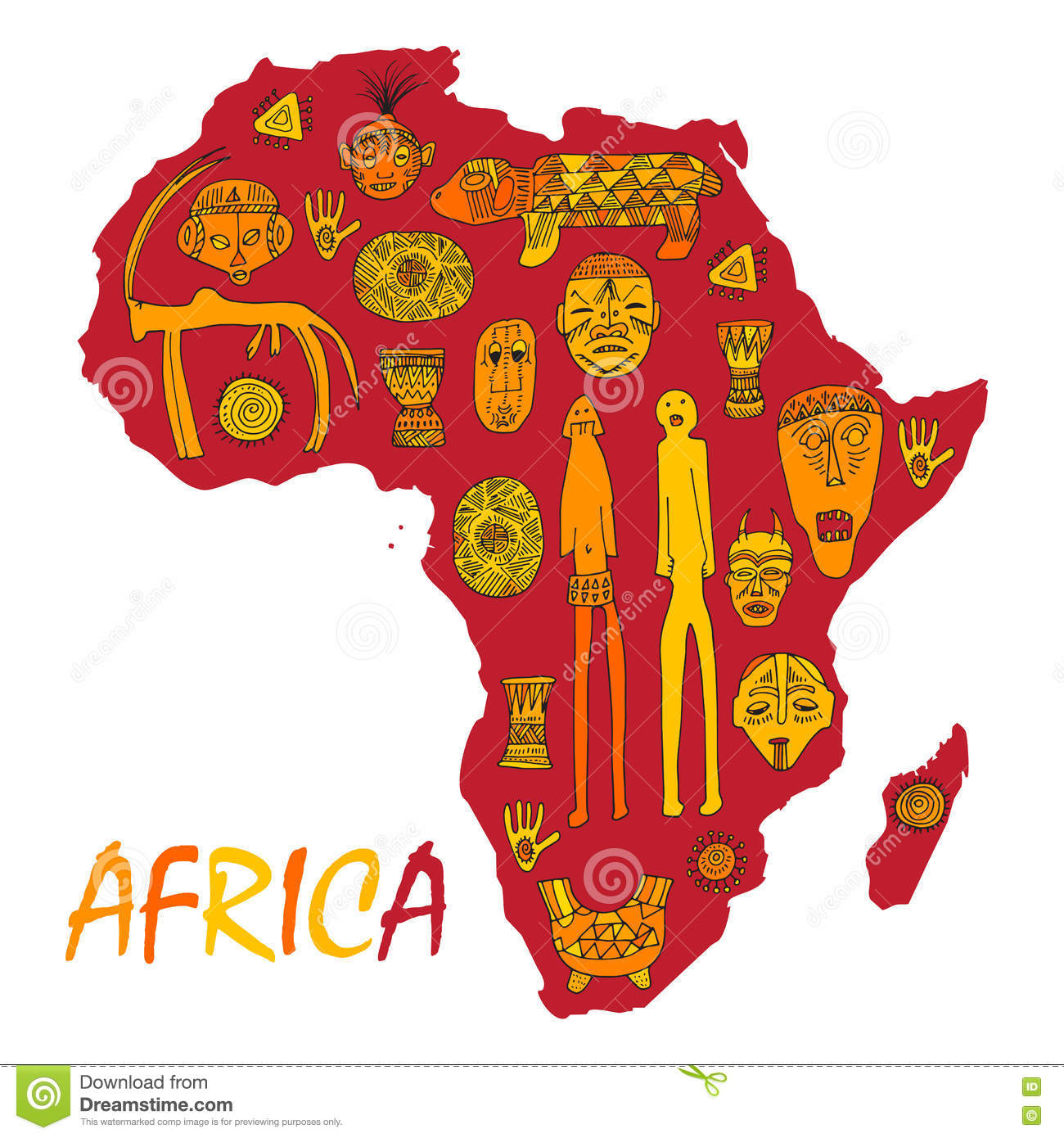 Africa map with different ancient symbols and signs stock vector africa map with different ancient symbols and signs object continent buycottarizona