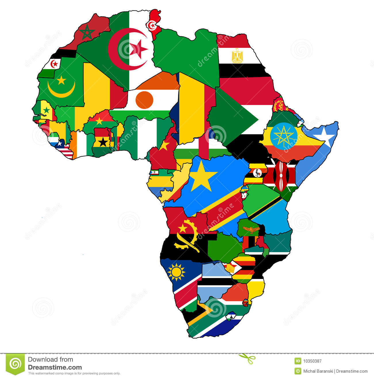 Africa map flag stock illustration. Illustration of poor - 10350387