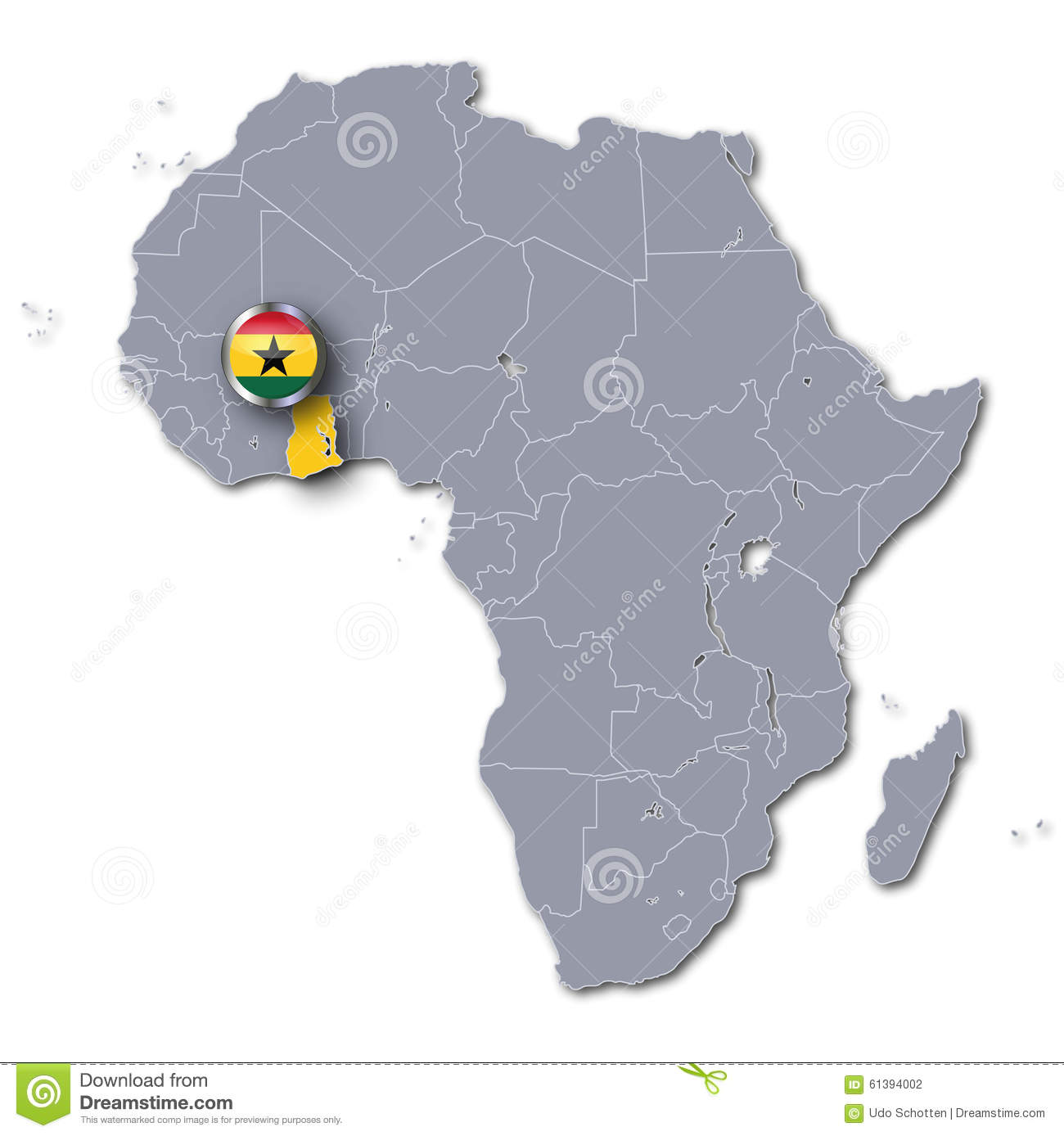Africa map with Ghana stock illustration. Illustration of ...