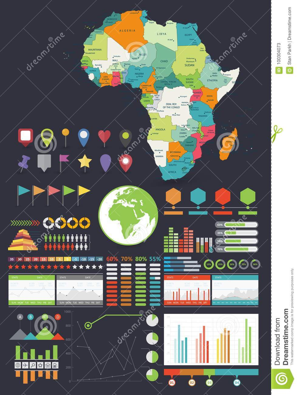 Africa Map And Infographics Design Elements Stock Vector ...