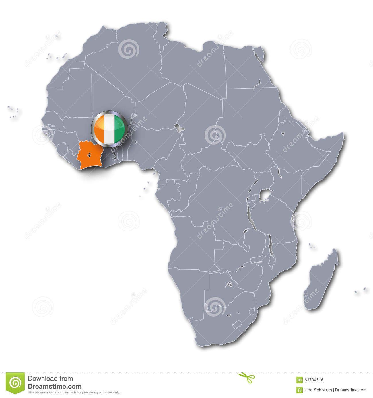Africa Map With The Ivory Coast Stock Illustration Illustration of