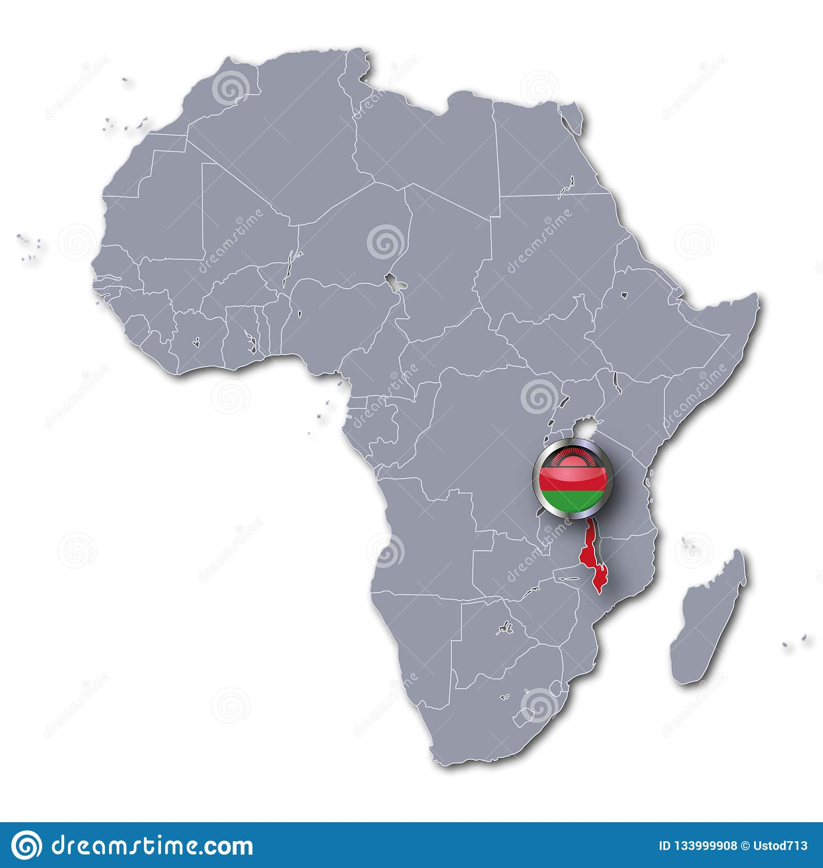 Africa map with Malawi stock illustration. Illustration of