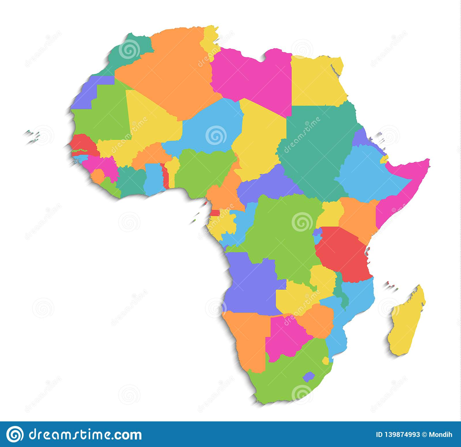 Africa Map New Political Detailed Map Separate Individual States With State Names Isolated On White Background 3d Blank Stock Vector Illustration Of Continent Cameroon 139874993