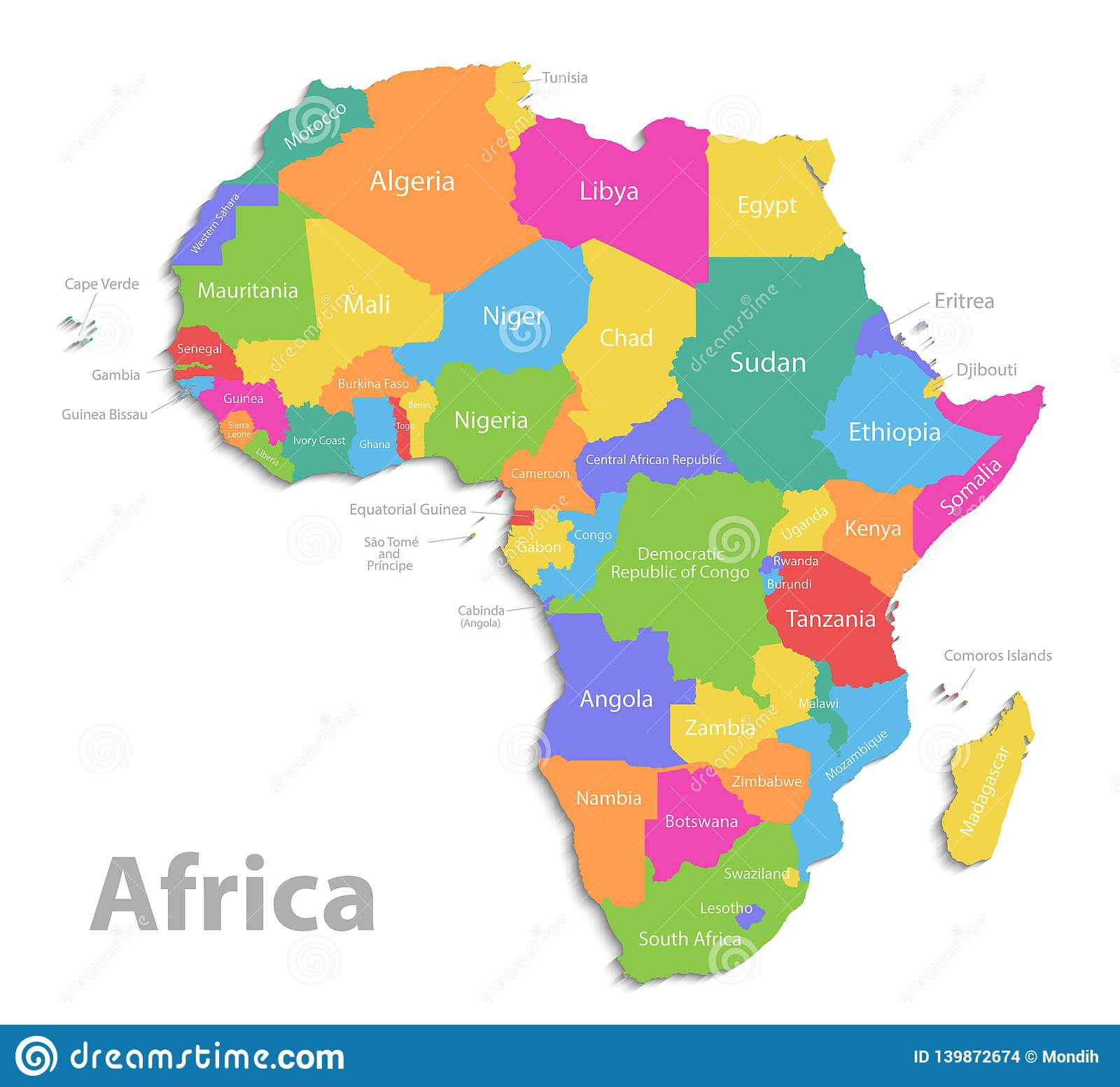 Africa Map New Political Detailed Map Separate Individual States