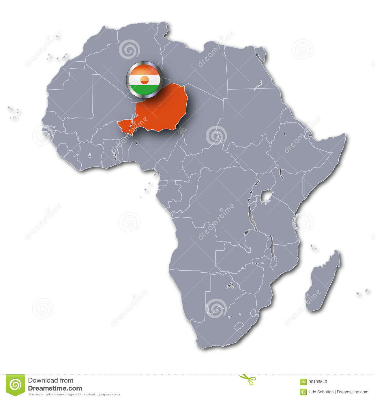 Africa Map With The Niger Stock Photo Image Of Famine 90109640