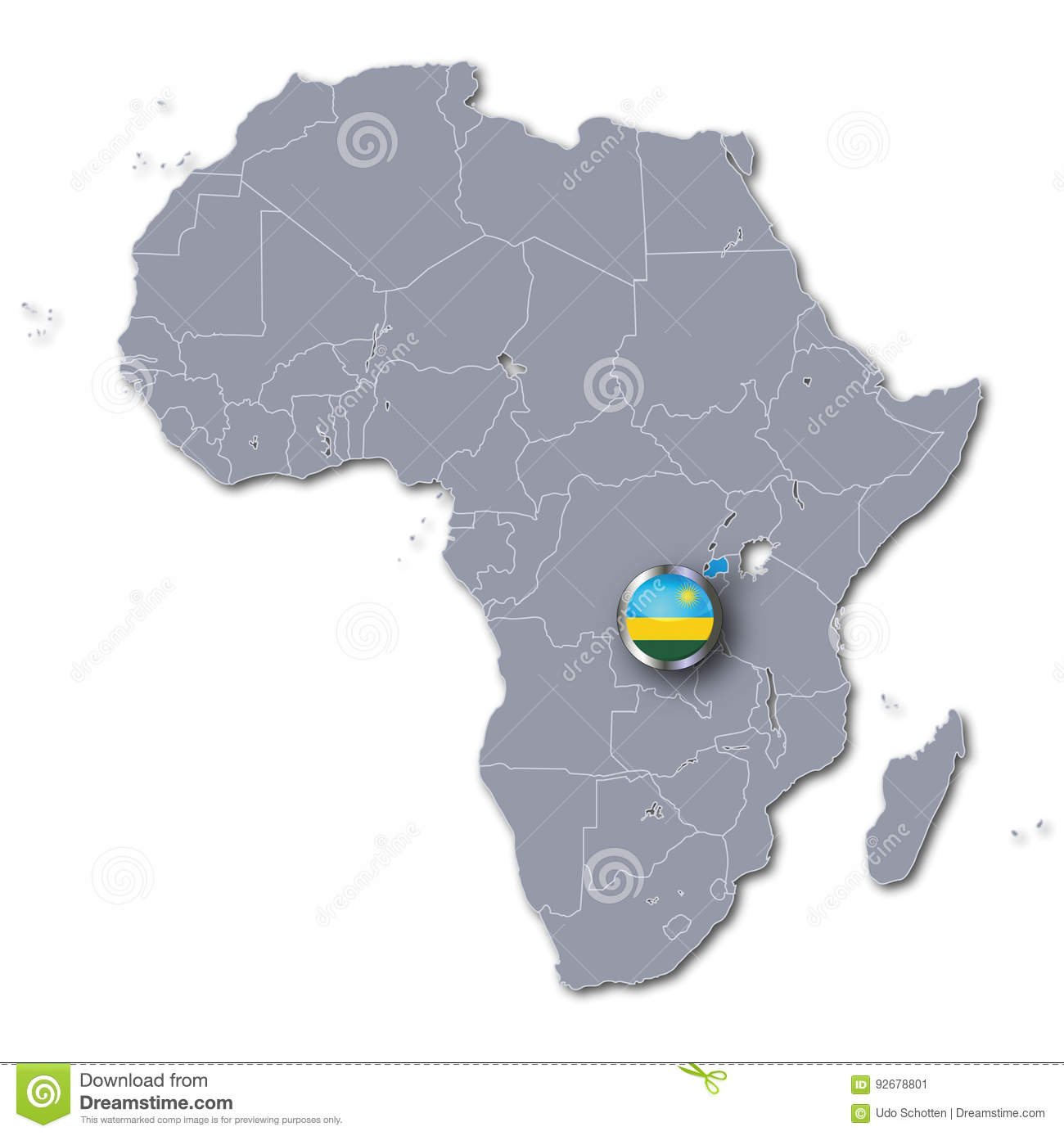 Africa Map With Rwanda Stock Illustration Illustration Of