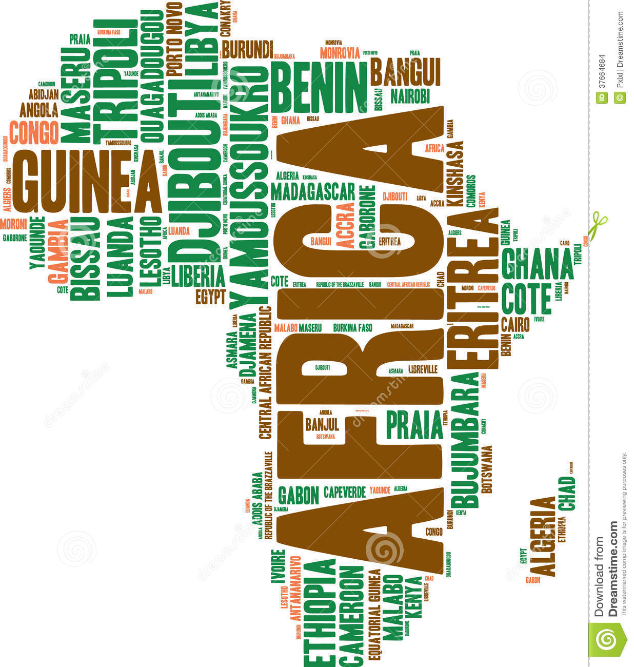 Africa map tag cloud stock illustration. Illustration of
