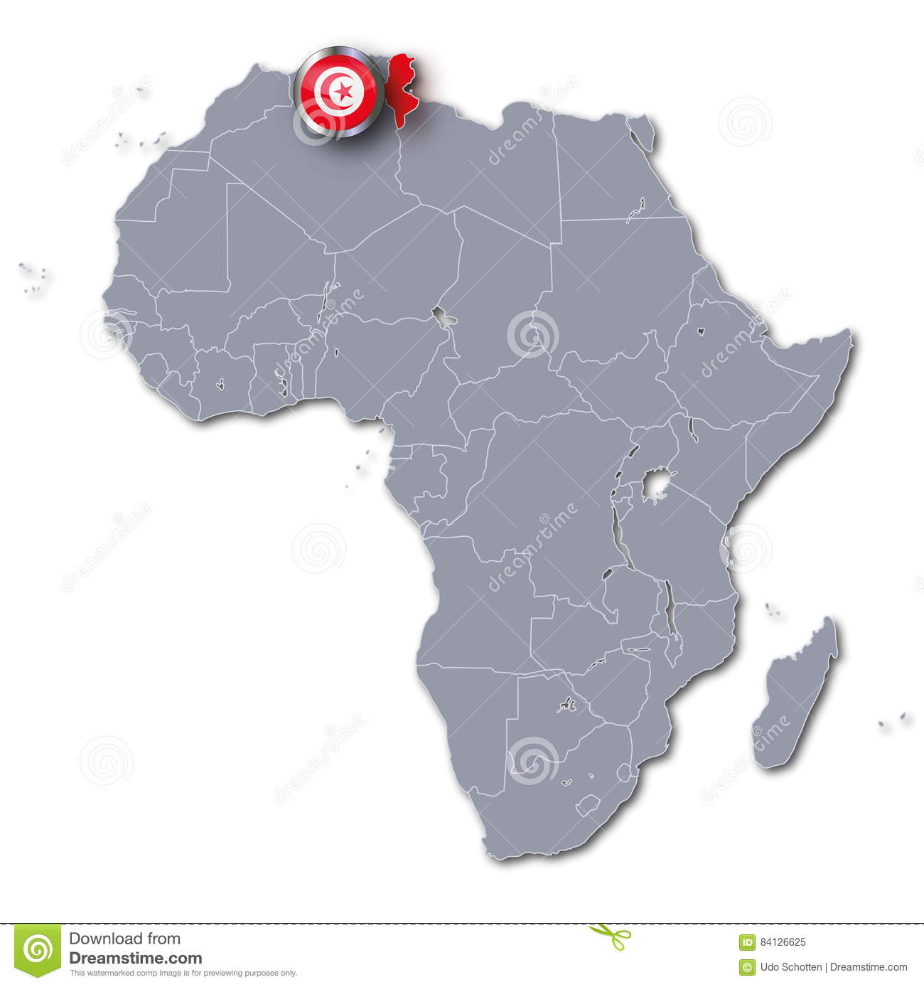 Africa map with Tunisia stock image. Image of country - 84126625
