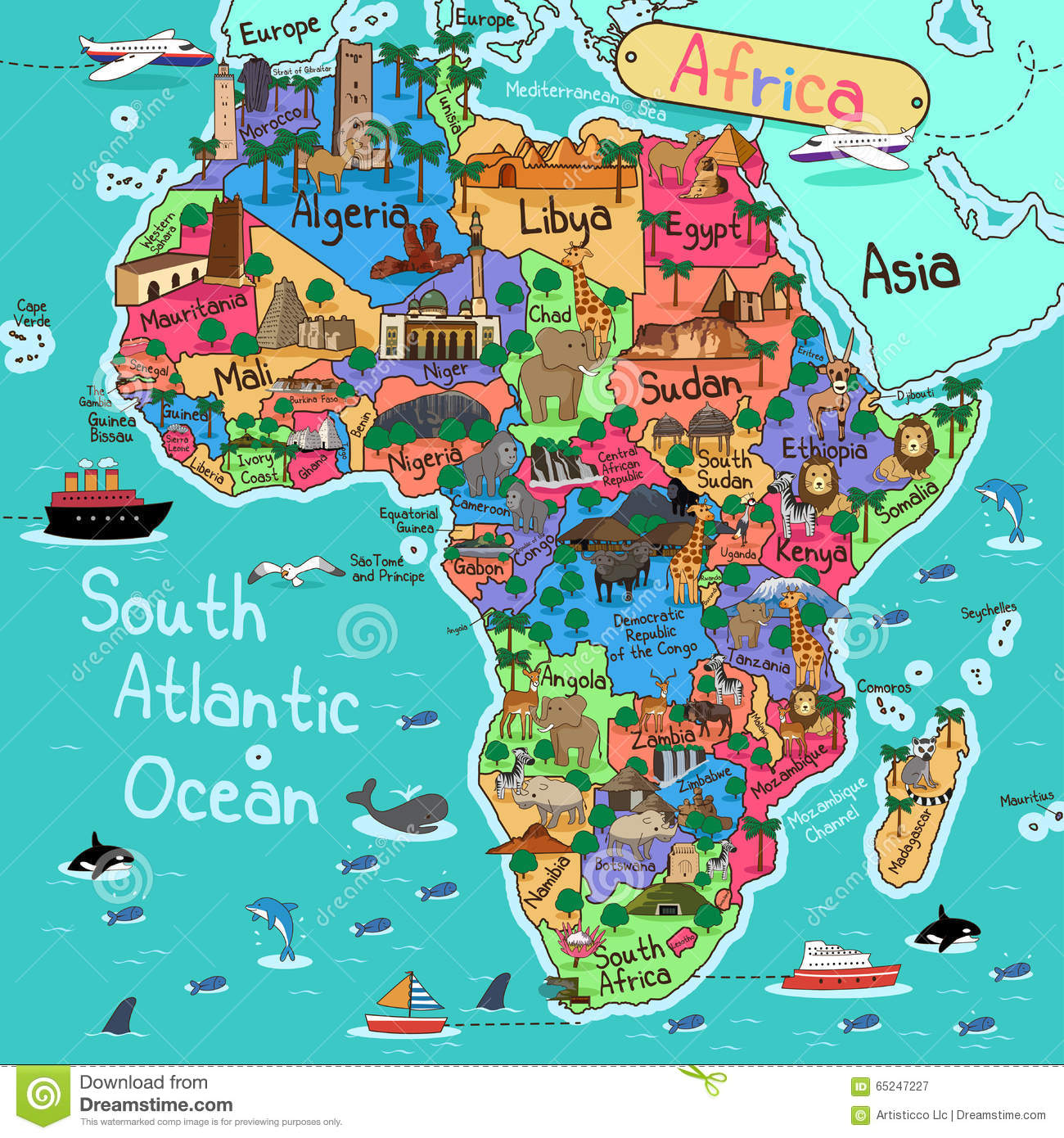 Africa Map Geography.Africa Map Stock Vector Illustration Of Geography Geology 65247227