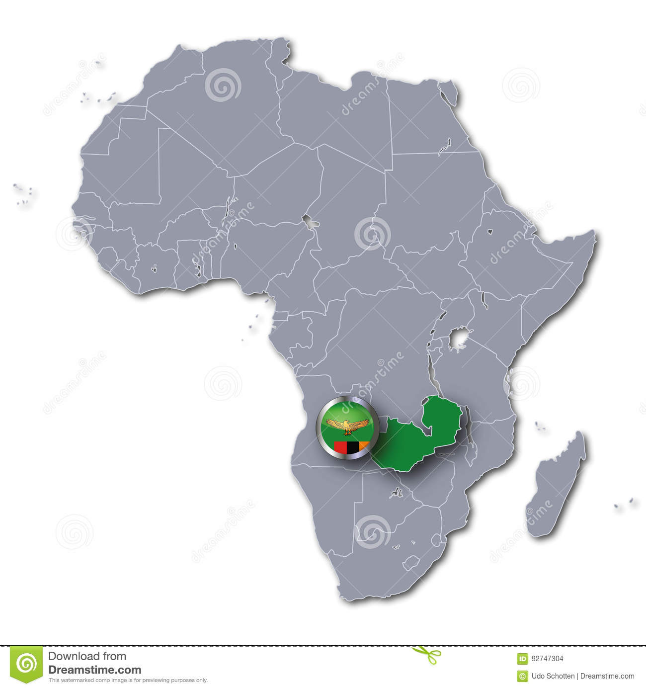 Africa map with Zambia stock illustration. Illustration of geography ...