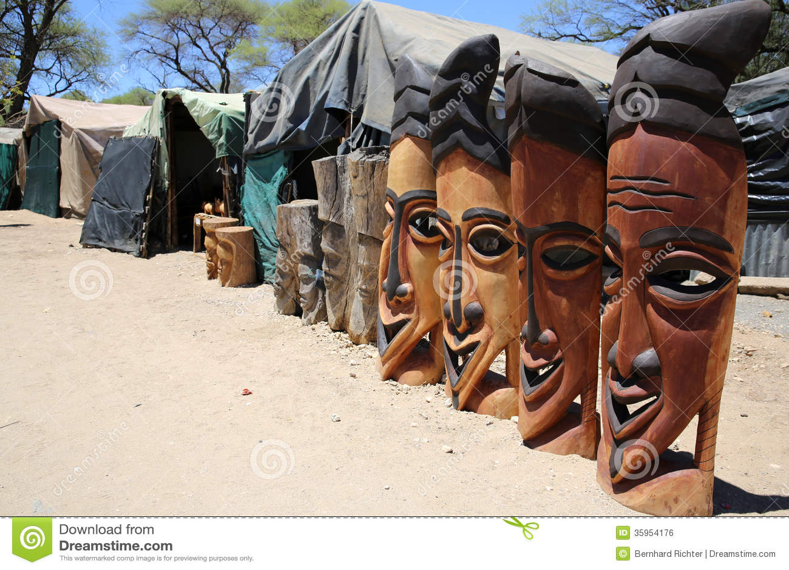 Okahandja Namibia  city images : Wooden Craft Market in Okahandja. Namibia.