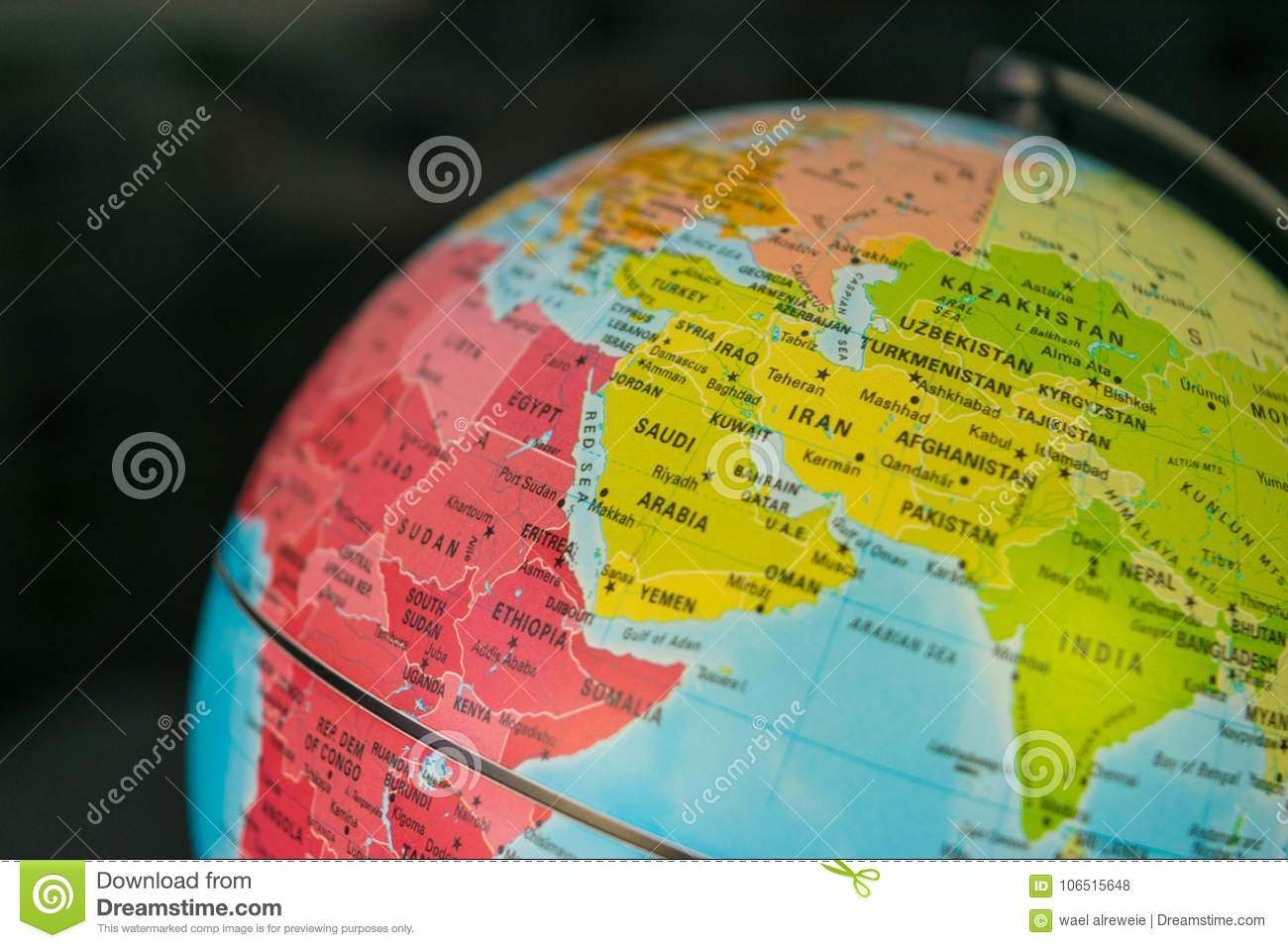 Africa Middle East And Europe Map On A Globe With Earth Map In The