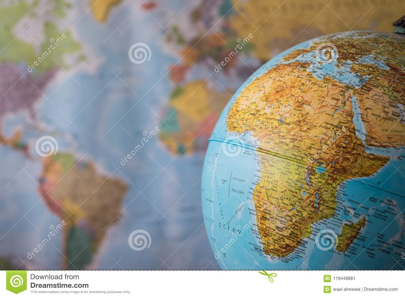 Africa Map Background.Africa And Middle East Map On A Globe With Earth Map In The