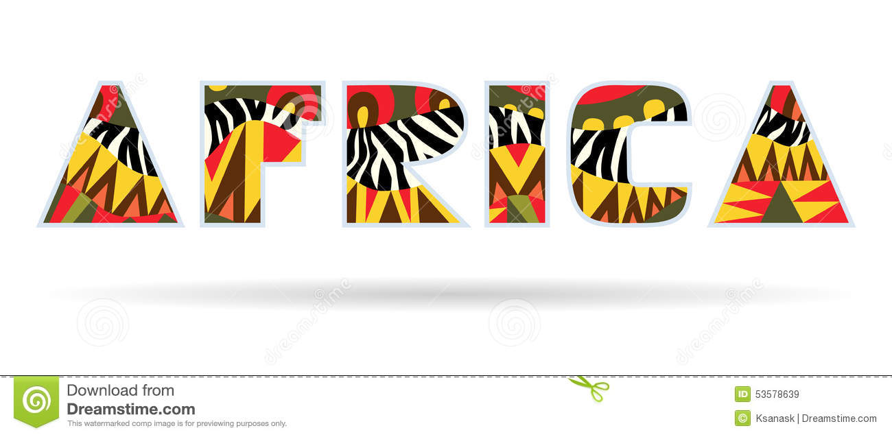 Africa word title with bright ethnic African and zebra skin patterns ...