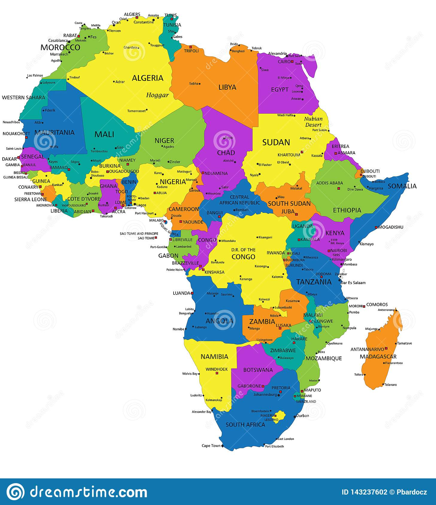 Picture of: Colorful Africa Political Map With Clearly Labeled Separated Layers Stock Vector Illustration Of Atlantic Green 143237602
