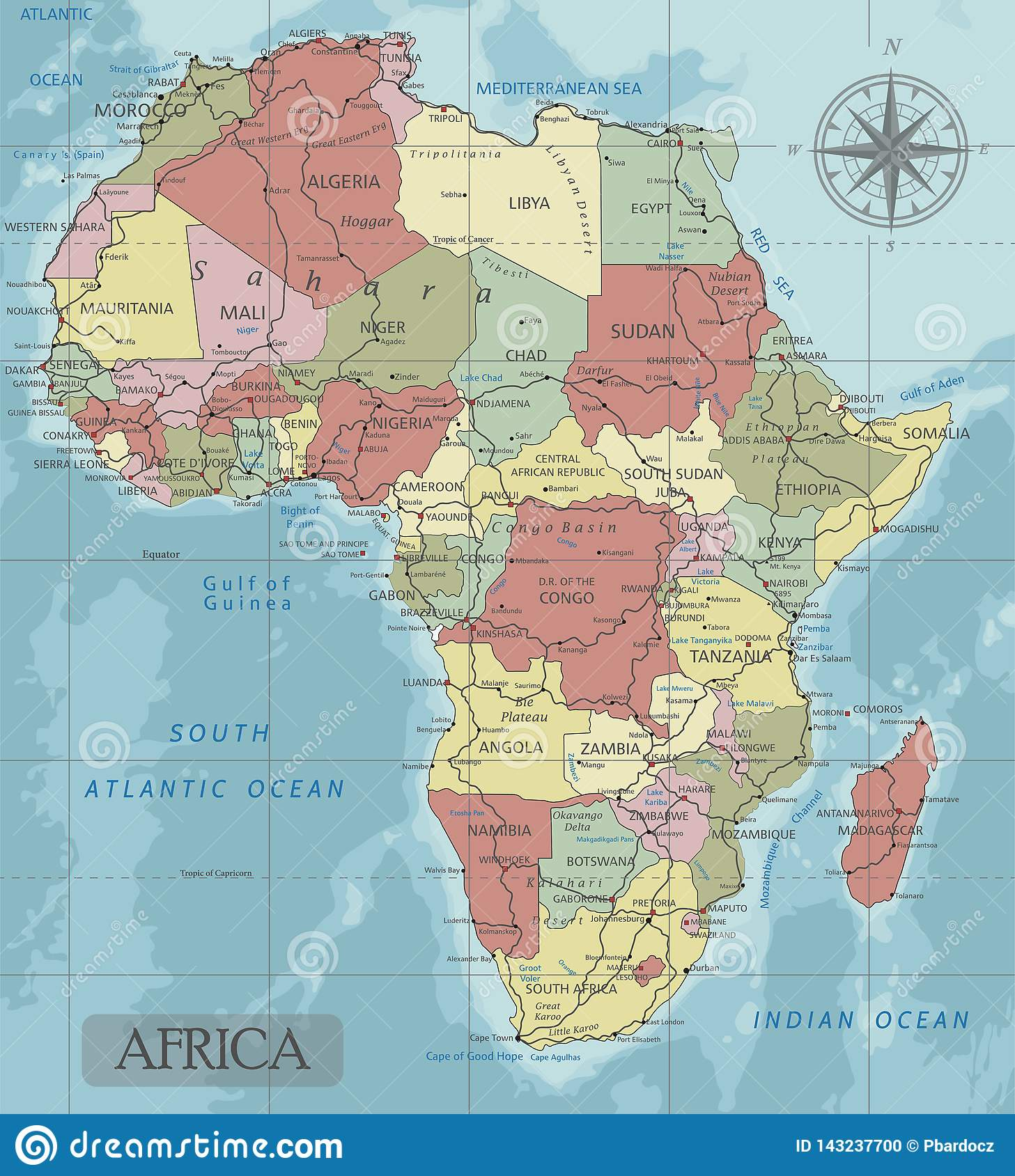 Detailed Africa Political Map In Mercator Projection Stock Vector Illustration Of Atlas Continent 143237700
