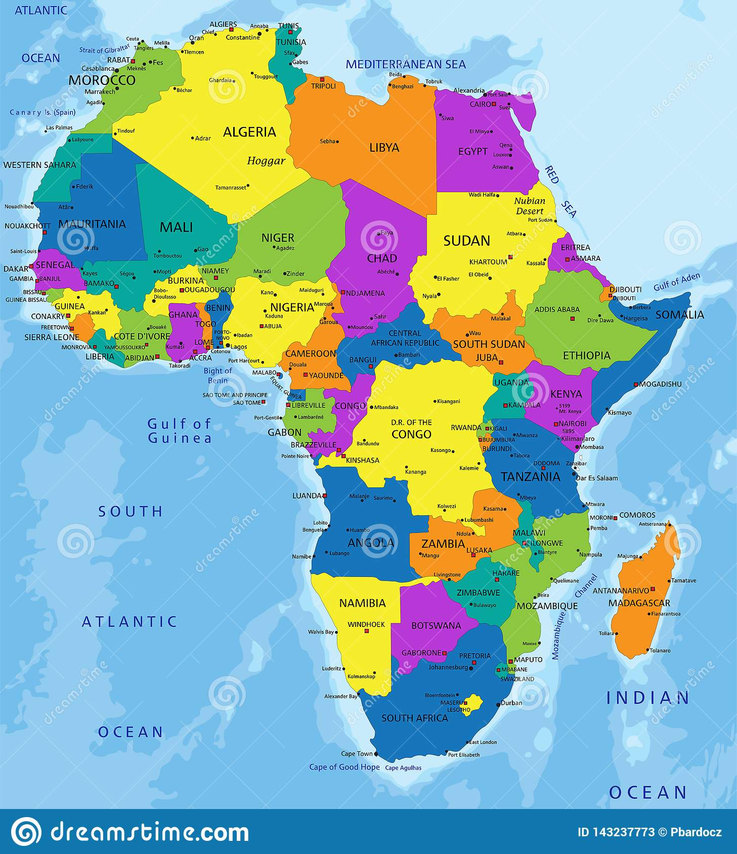 Picture of: Colorful Africa Political Map With Clearly Labeled Separated Layers Stock Vector Illustration Of African Colored 143237773