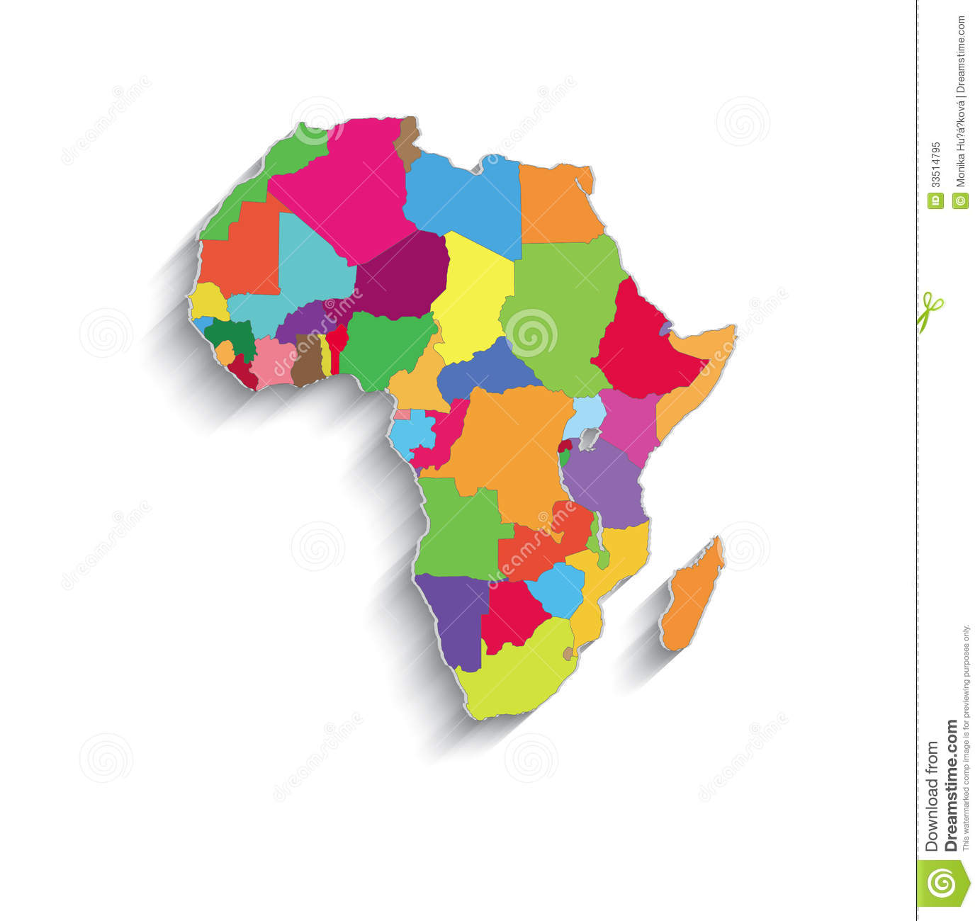 Africa Political Colors Map Paper 3d Individual St Stock Vector