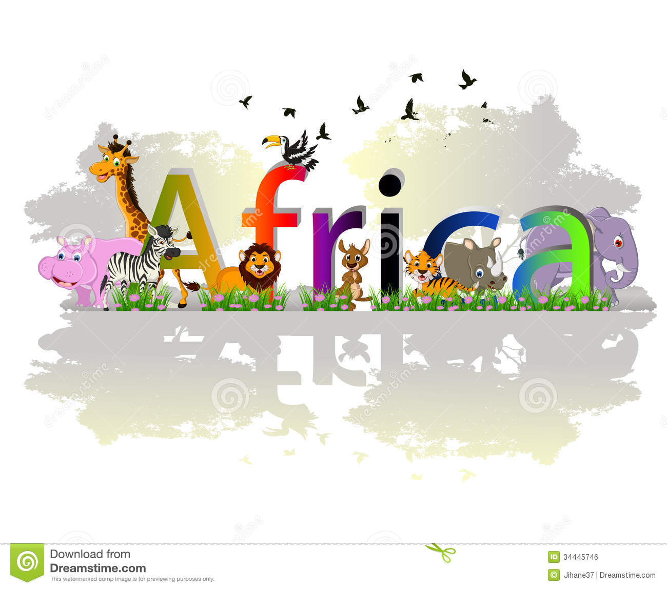Africa Poster Background With Animal Wildlife Stock Illustration