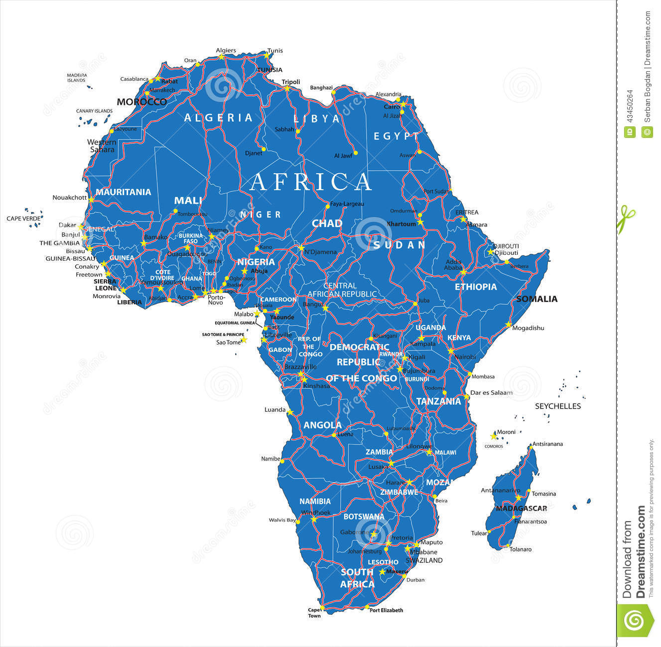 Africa Road Map Stock Vector Image 43450264