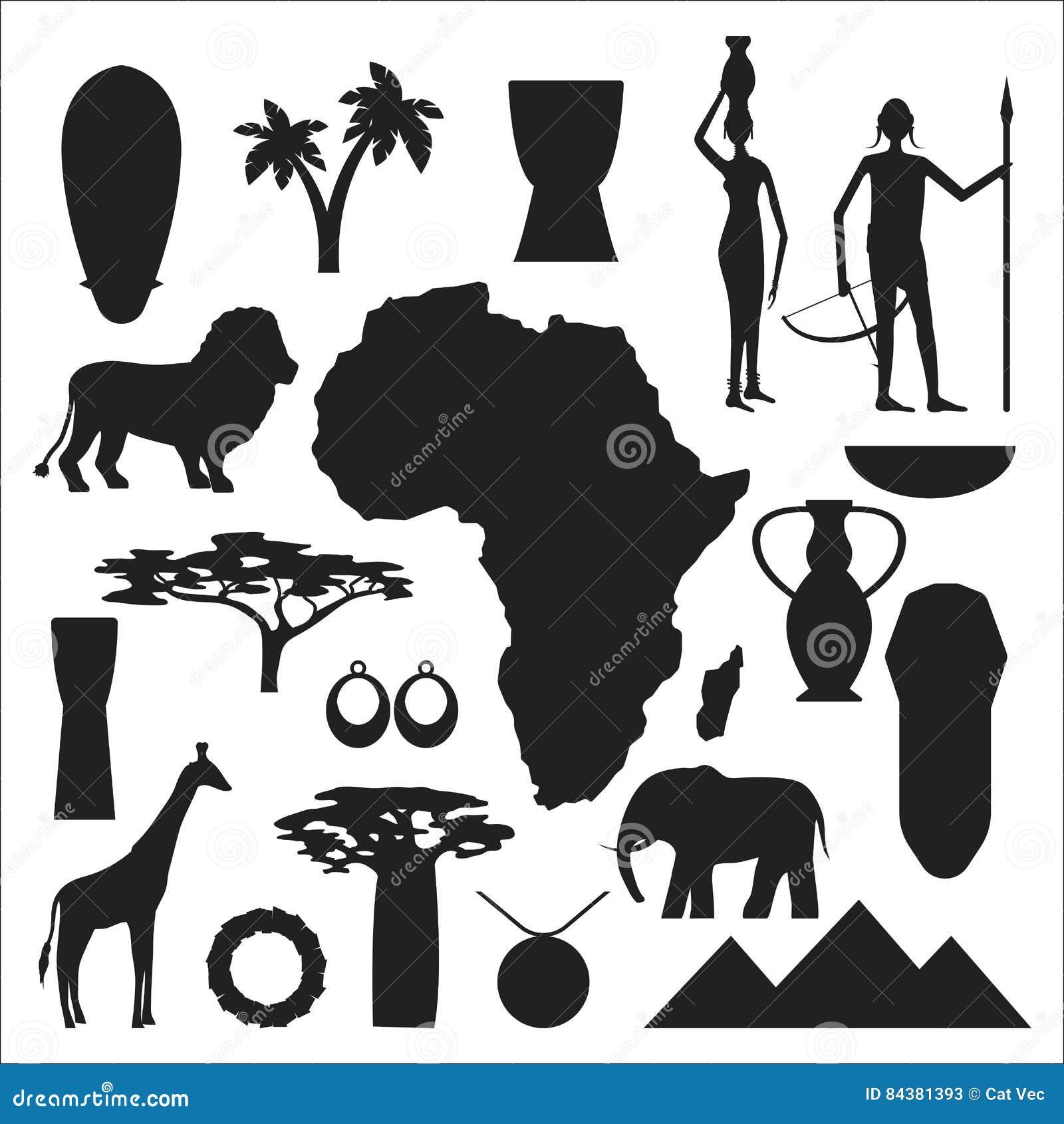 Africa symbols and travel vector set stock vector illustration africa symbols and travel vector set stock photos buycottarizona Gallery