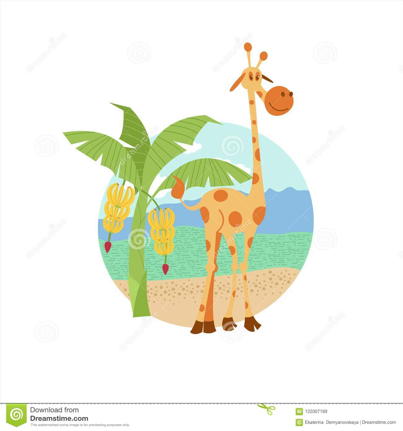 Africa Vector Illustration In Cartoon Style A Cute Giraffe Is Standing Near A Banana Palm Tree Stock Vector Illustration Of Funny Background 122007169 We have 291 free africa tree vector logos, logo templates and icons. dreamstime com
