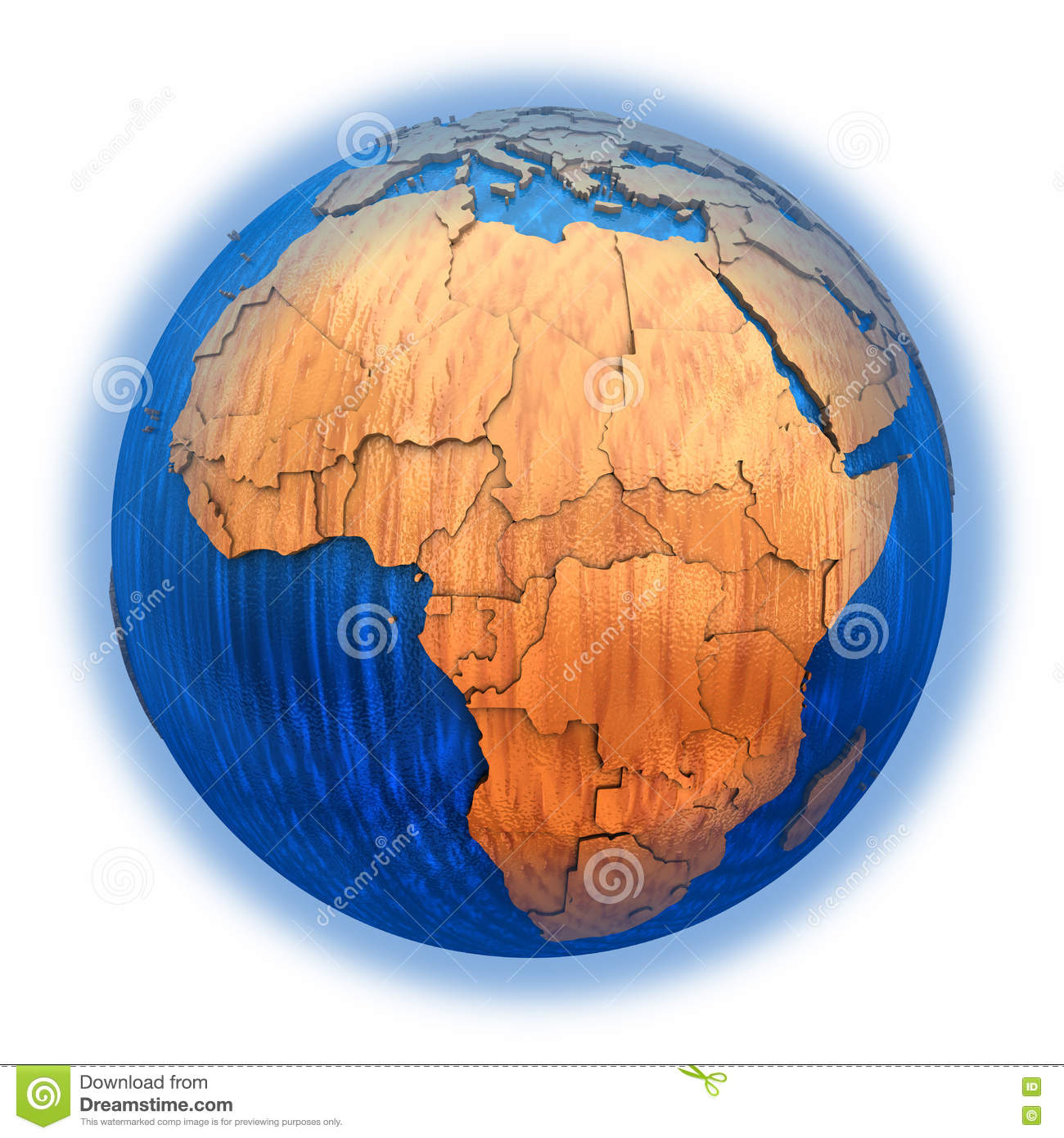 africa on wooden model of planet earth with embossed continents and visible  country borders  3d illustration isolated on white background