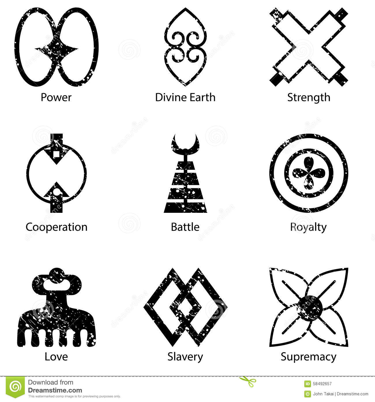 african adinkra symbol icon set stock vector image 58492657