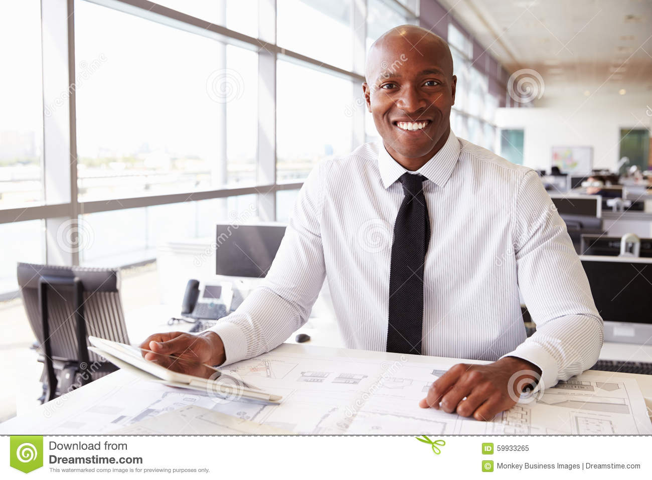 African American Architect At Work, Smiling To Camera ...
