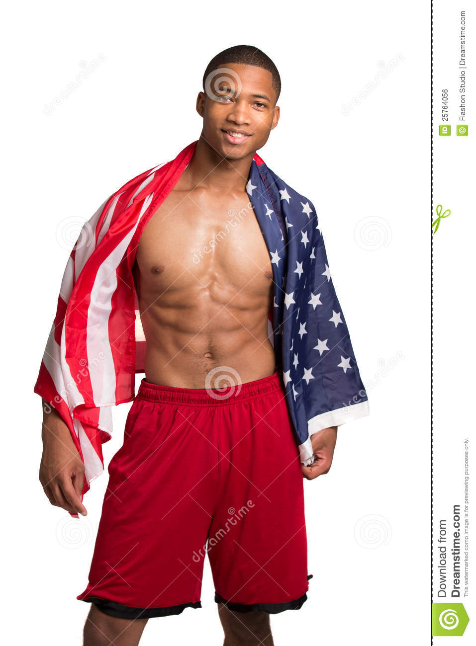 African American Athlete Holding American Flag Stock Photo ...